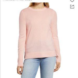 NEW HALOGEN Light Blush Pink Crewneck 100% Cashmere Sweater Small Long Sleeve
